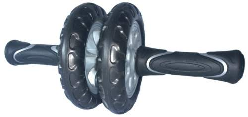 Ролик гимнастический 2 колеса PRO-SUPRA усиленный, прорезиненные ручки 715 TR Черно-серый
