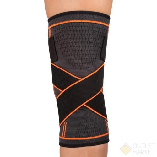 Суппорт колена эластичный INDIGO с компрессионными лямками  IN209 XL Черно-оранжевый