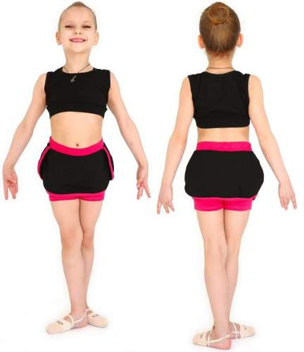 Юбочка шорты гимнастическая с окантовкой INDIGO SM-351 28 Черный-фуксия