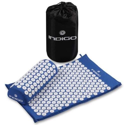 Коврик массажный с подушкой INDIGO IN186 67*42*2,5см, 38*15*10 см Синий