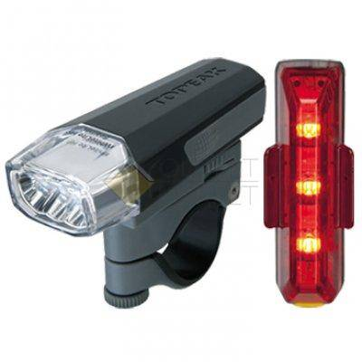 Комплект фонарей TOPEAK HighLite Combo Aero  (WhiteLite HP Beamer + RedLite Aero), чёрный цвет