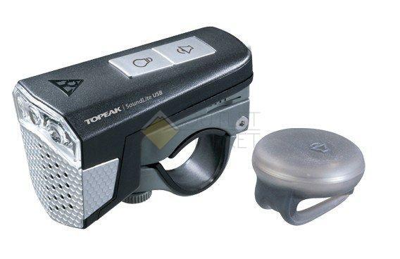 Передний фонарь TOPEAK SoundLite USB w/wireless sound controller с беспроводным управлением звуком с зарядкой черный TMS077B