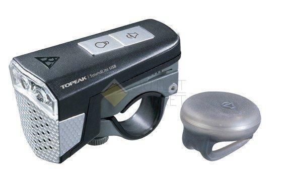 Передний фонарь TOPEAK SoundLite USB w/wireless sound controller  с беспроводным управлением звуком с зарядкой черный