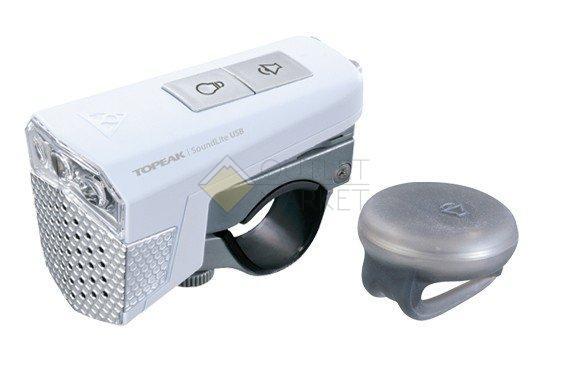 Передний фонарь TOPEAK SoundLite USB w/wireless sound controller с беспроводным управлением звуком с зарядкой белый TMS077W