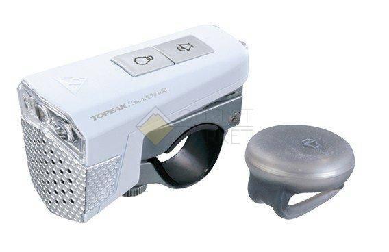 Передний фонарь TOPEAK SoundLite USB w/wireless sound controller  с беспроводным управлением звуком с зарядкой белый
