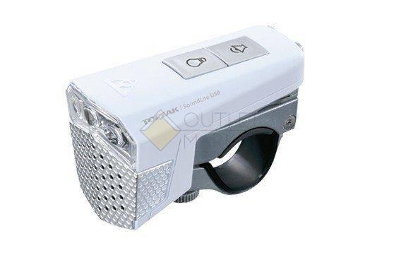 Передний фонарь TOPEAK SoundLite USB с зарядкой белый
