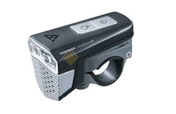 Передний фонарь TOPEAK SoundLite USB с зарядкой черный