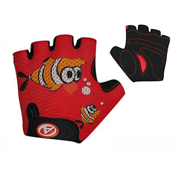 Велоперчатки AUTHOR Junior Ping размер S, красно-черные, замша/синт./кожа CN8635